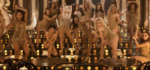 Christina Aguilera (center), Julianne Hough (third from left), Kristen Bell (fifth from right on top), Paula Van Oppen (center left bottom), Chelsea Traille (eighth from right on bottom), Tyne Stecklein (fifth from right on bottom), Sarah Mitchell (center rigth top) and Tanee McCall in the finale scene from Screen Gems' BURLESQUE.