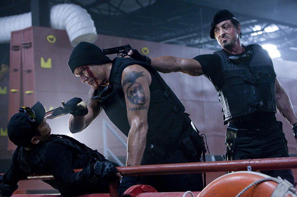 Dolph Lundgren, Sylvester Stallone, y Jet Li en The Expendables (2010)