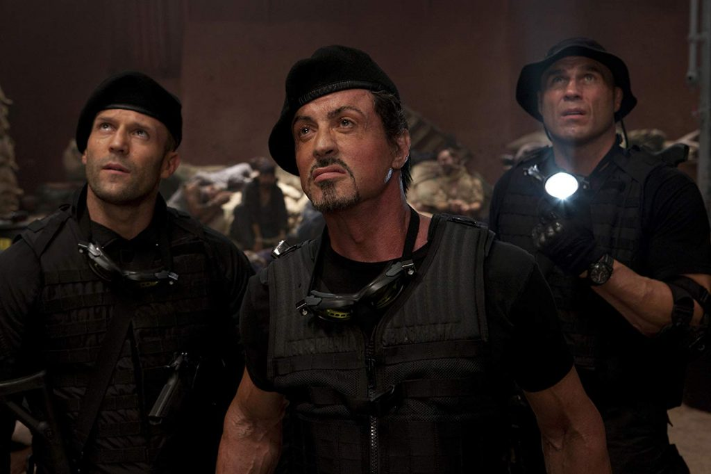 Sylvester Stallone, Jason Statham, y Randy Couture en The Expendables (2010)