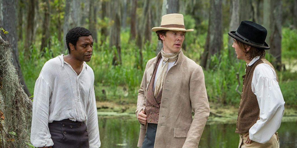Paul Dano, Chiwetel Ejiofor, and Benedict Cumberbatch en 12 Years a Slave