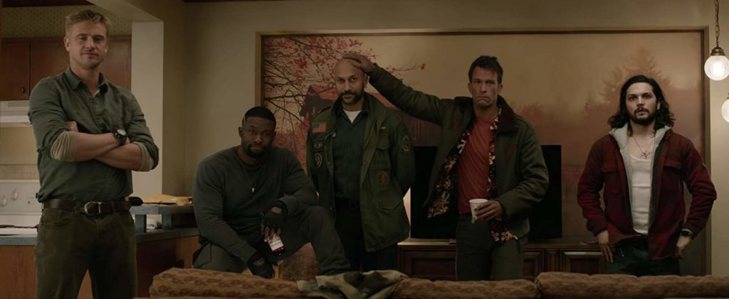 Thomas Jane Keegan-Michael Key Boyd Holbrook Augusto Aguilera y Trevante Rhodes en The Predator (2018)