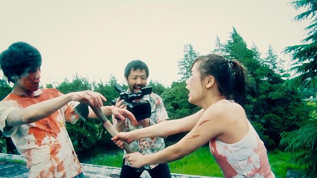Kazuaki Nagaya, Takayuki Hamatsu, y Yuzuki Akiyama en Kamera wo tomeruna! (2017)