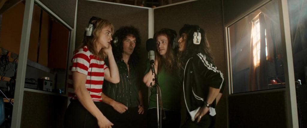 Joseph Mazzello, Rami Malek, Gwilym Lee, y Ben Hardy in Bohemian Rhapsody (2018)