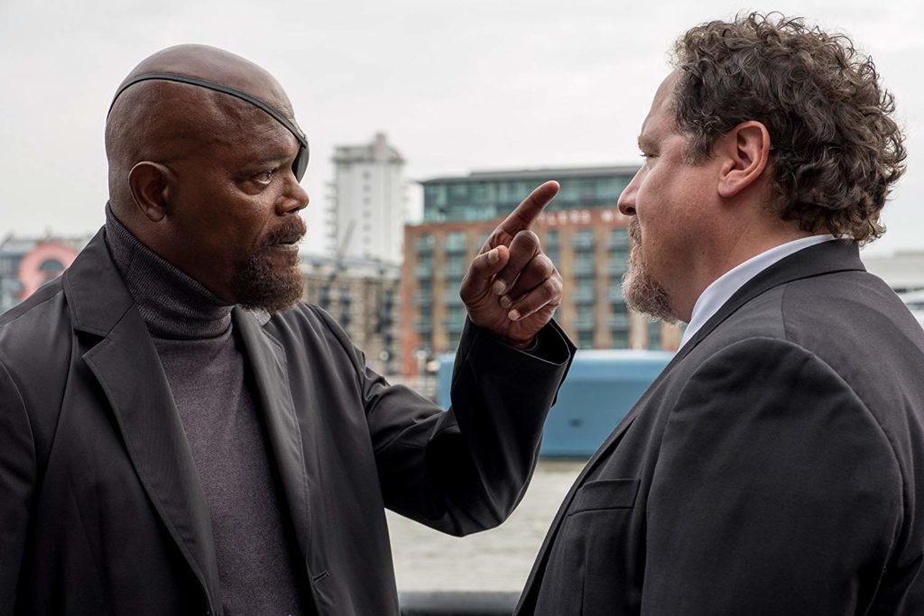 Nick Furia (Samuel L. Jackson) y Happy Hogan (Jon Favreau)