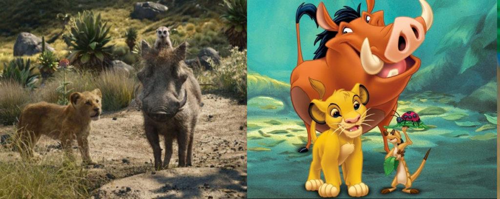 Comparación Timón y Pumba (1994) vs (2019)