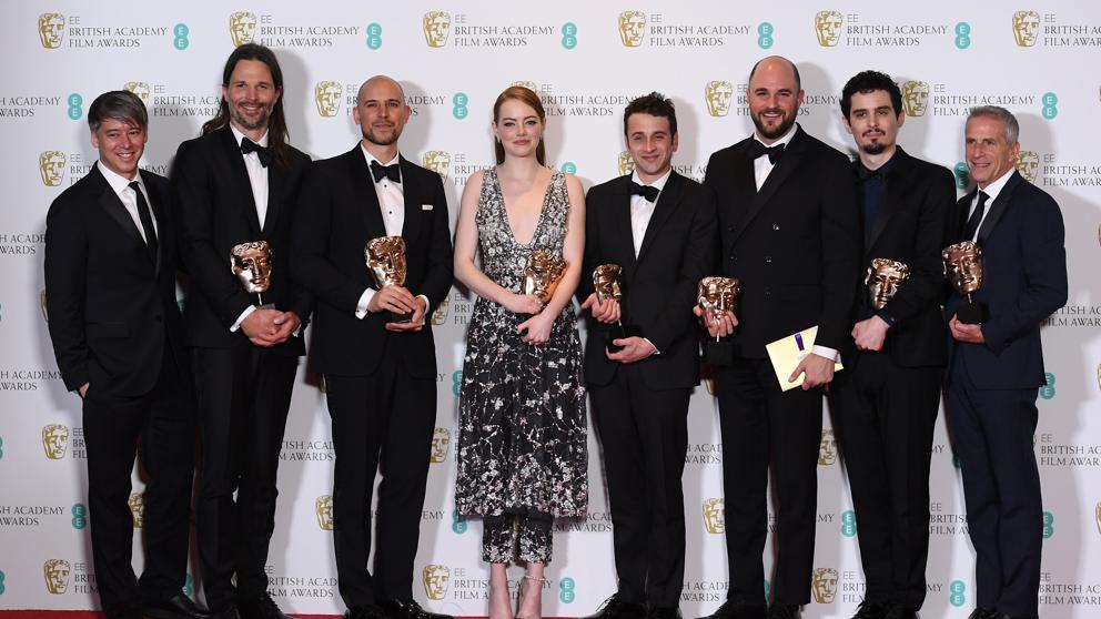 El equipo de La la land en los BAFTA